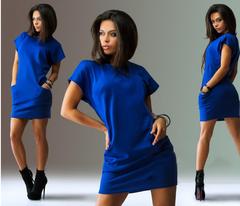 Fashion ladies dress round neck short-sleeved slim dress s blue