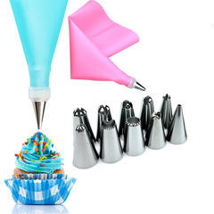 Silicone Icing Piping Cream Pastry Bag 10PCS Stainless Steel Nozzle Pastry Tips Cake Decorating Tool blue A