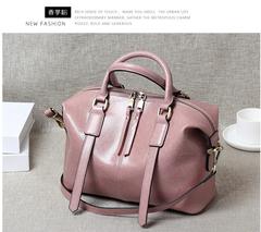 2019 retro portable oil wax leather handbag Boston bag tide ladies leather shoulder Messenger bag pink a