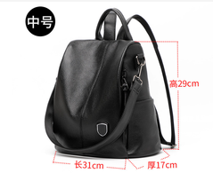 Women's bag leather backpack women's backpack multi-function travel backpack black a