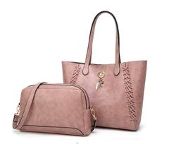 Handbag 2PCS Bucket bag Design Women Shoulder Bags pink a
