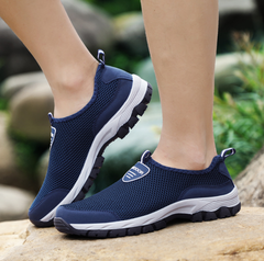 Fashion Summer Hiking Shoes Men Casual Air Mesh Shoes Big Sizes  Breathable Slip-on Flats blue 39