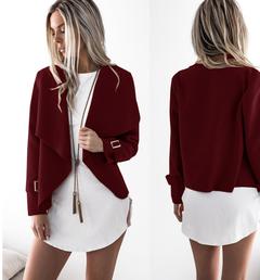 2019 Women's Fashion Slim-type Jacket Lapel Fur Jacket Top Short Style Jackets wine red s