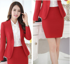 New fashion women suits slim work wear office ladies long sleeve blazer skirt suits costumes red Coat + skirt S