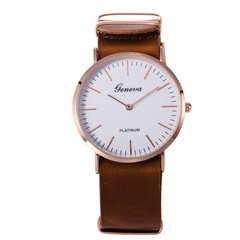 Geneva ultra-thin belt watch Simple scale men's watches brown a