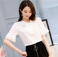 2019 Womens Tops And Blouses mujer de moda Chiffon Ladies Clothing white s