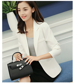 Women's business wear work office spring and autumn sleeves long coat white s