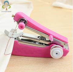Portable Mini Manual Sewing Machine Simple Operation Sewing Tools Sewing Cloth Fabric Handy pink