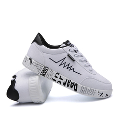 Fashion Women Vulcanized Shoes Sneakers Ladies Lace-up Casual Shoes Breathable Walking Canvas Shoes white 37