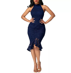2019 new foreign trade women's fashion fishtail dress lace stitching solid color dresses s blue