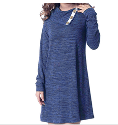 Women Dresses Spring and Autumn Buttons Lapel Pullover Loose Long Sleeve Dress s blue