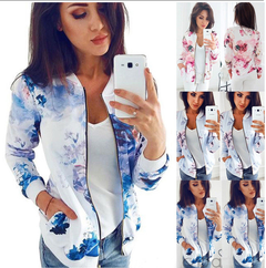 Fashion coat spring and autumn women's women cardigan long-sleeved floral print blue s