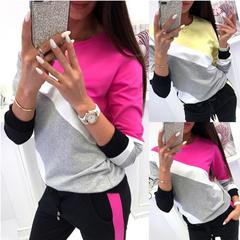 Explosion models women loose round shirt neck stitching long-sleeved Shirt yellow s