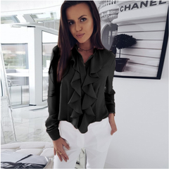 2019 Professional office ladies Shirt Long-sleeved black s