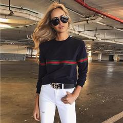 2019 Casual Women's Tops Fashion Round Neck Loose Long Sleeve Printed Sweatshirts black s