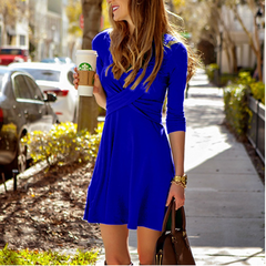 2019 New hot sell Fashion Women Casual party dress O-Neck Dresses s blue