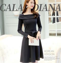 Spring and summer new women's temperament Slim long-sleeved ruffled dresses bottom skirt s black