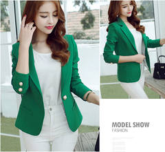2019 New Fashion Was Thin Wild Suit Casual Long-sleeved Solid Color green s