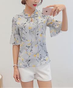 Autumn Fashion Chiffon Blouses Slim Women Chiffon Blouse Office Work Wear shirts gray s