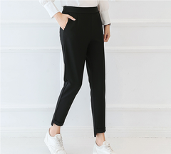 Spring and summer new pencil pants were thin nine pants casual large size pants fashion black S