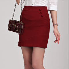 Fashion business women's professional women's skirt West skirt white work clothes step skirt red s