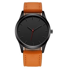 Fashion Large Dial Military Quartz Men Watch Leather Sport watches High Quality Clock Wristwatch brown a