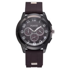Trend three-eye six-needle men's silicone strap watches classic digital quartz watch brown a