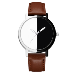 Brand simple trend men's and women's watches casual black and white mirror fashion watches brown a