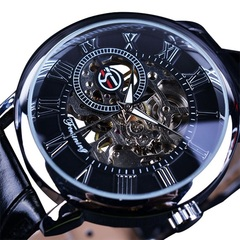 Hollow Engraving Black Gold Case Leather Skeleton Mechanical Watches Men Luxury Mechanical Watches black a