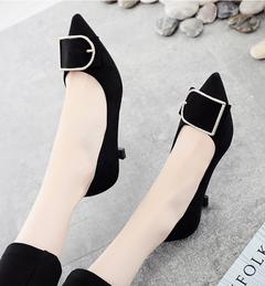 High quality fashion versatile shoes stiletto low heel large size single shoes women's shoes black 34