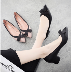 Bow color matching black with low size professional work single shoes female black 34