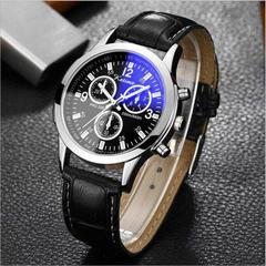 Blu-ray glass belt men's watch fashion three-eye quartz watch a1 a