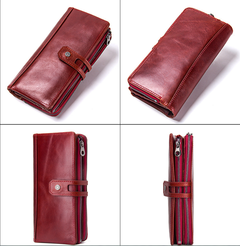 Fashion tri-fold leather wallet cowhide casual buckle women's wallet red one