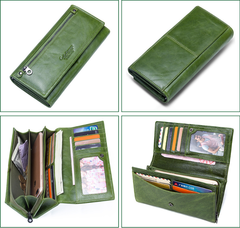 Women clutch bag multi-function long leather ladies wallet green one