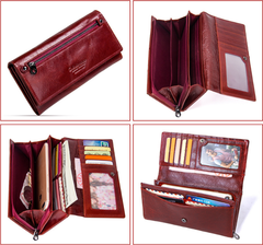 Women clutch bag multi-function long leather ladies wallet red one
