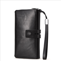 Men Leather Wallet Crazy Horse Leather bag Europe and America Tri-Fold Clutch black a