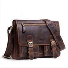 Retro Crazy Horse Genuine Leather Men Shoulder Bag Messenger Bag Leather Men Bag coffee a
