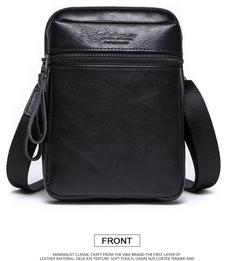 High quality real leather men's pockets leather shoulder bag messenger bag black a