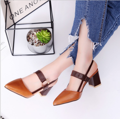 Sandals 2019 summer new fashion thick with high-heeled female pointed Mary Jane shoes large size brown 36