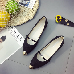 Single shoes, small leather shoes, pointed shoes, work shoes, wild tide, comfortable models black 35