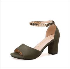 Women shoes round head sandals shallow mouth high heel cool feet ring toe women's sandals green 36