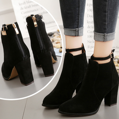 Waterproof boots thick and short boots women's shoes high heel low boots Martin boots black 35
