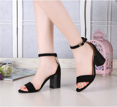 New thick with sandals female word buckle open toe nude women's shoes sexy wild black 35