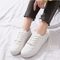 New women's shoes PU mid-port shoes flat-bottomed round flat heel white 35