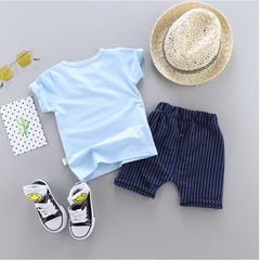 baby short-sleeved suit Summer thin baby two-piece boys and girls cotton home service T-shirt blue 80 Main ingredient cotton
