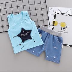 Cotton children's vest suit sleeveless baby child shorts two-piece suit a 80 main ingredient cotton