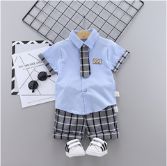 Boy summer short-sleeved suit baby clothes new girls t-shirt shorts two-piece tide blue 80 main ingredient cotton