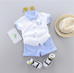 2019 new boy suit children's clothing short-sleeved shorts two-piece blue 80 main ingredient cotton