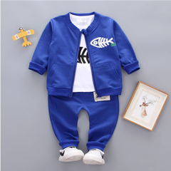 New jacket new top + jacket + pants infant boys and girls suit clothing baby 1-5 years old blue 80 main ingredient cotton
