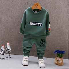 Spring new cartoon sweater cotton clothes baby baby Top+Pants  children Clothing green 80 main ingredient cotton